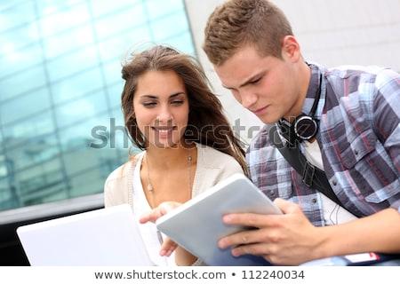 20 anos casal velho estudante estudar biblioteca Foto stock © Lopolo