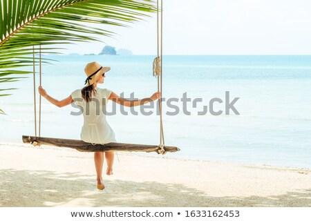 vrouw · strand · swing · aantrekkelijke · vrouw · bikini · spelen - stockfoto © Gafter_Shuster