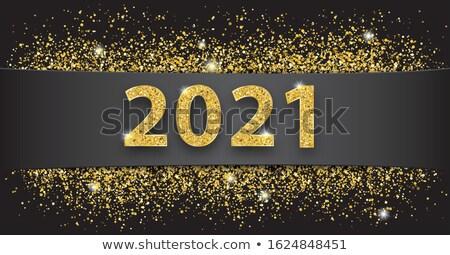 Black Paper Banner Golden Sand 2021 Stock photo © limbi007