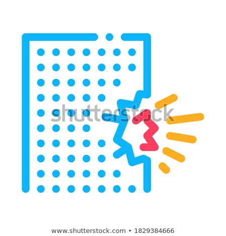 blow house collapse icon vector outline illustration Stock photo © pikepicture