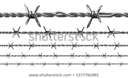 szögesdrót · kék · ég · biztonság · kerítés · kék · ipar - stock fotó © pancaketom