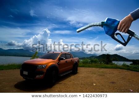 Kéz tart kék benzinpumpa üzlet út Stock fotó © nuttakit