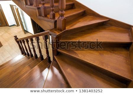 Fából készült lépcsősor lépcsőház út felfelé hegyoldal Stock fotó © THP