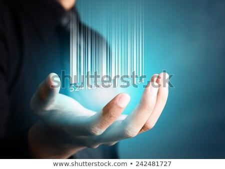 Vonalkód ujj levegő kéz borravaló férfi Stock fotó © SimpleFoto