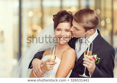Paar bruiloft gebak tabel Stockfoto © travelphotography