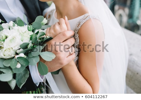 studio · portret · bruidegom · bruid · smart · wijnglazen - stockfoto © sapegina