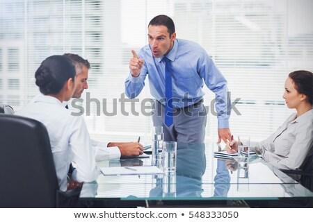 mérges · főnök · dühös · üzletember · mutat · előre - stock fotó © dundanim