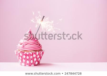 Pembe renkli kiraz üst kek Stok fotoğraf © stevemc