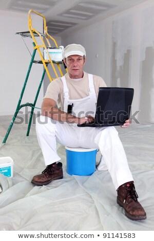Festő elvesz törik laptop férfi építkezés Stock fotó © photography33