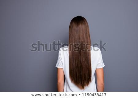 ver · de · volta · mulher · longo · cabelos · cacheados · apresentar - foto stock © stockyimages