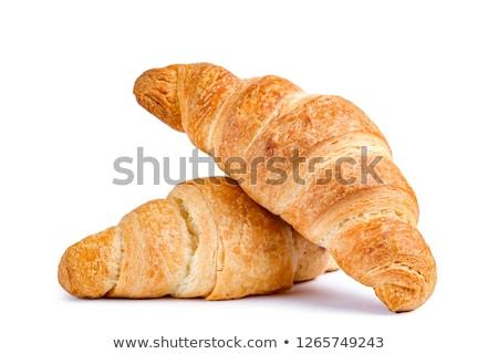 croissant · isolado · branco · trigo · café · da · manhã · alimentação - foto stock © m-studio