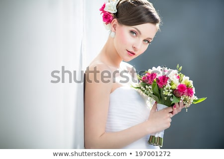 Beautiful young bride in sleeveless dress Stock photo © rosipro