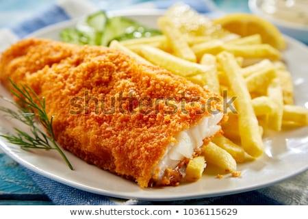 balık · cips · ev · yapımı · lezzetli · pesto · plaka - stok fotoğraf © phila54