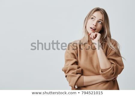 pensando · algo · menina · escolas · trabalhar - foto stock © iko