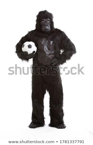 футбольным мячом маскировка улице черно белые Футбол спорт Сток-фото © ABBPhoto