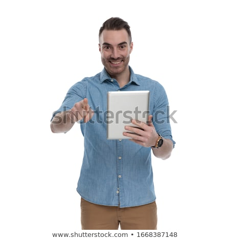 férfi · mutat · laptop · üzlet · iroda · internet - stock fotó © photography33