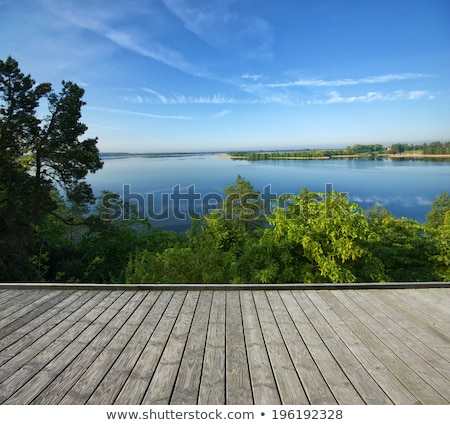 Empty wooden footpath and beautiful lake Stock photo © Arrxxx