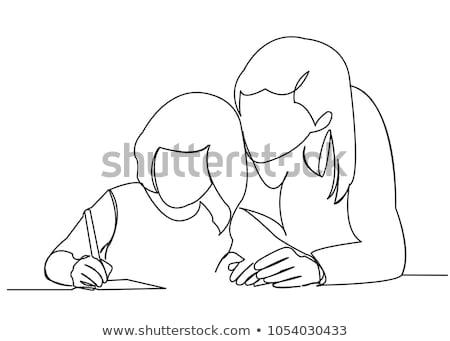 mom and child handing a globe white background Stock photo © inxti