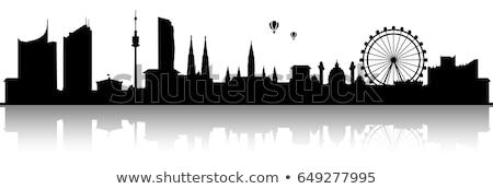 Skyline stad ontwerp brug zwarte silhouet Stockfoto © compuinfoto
