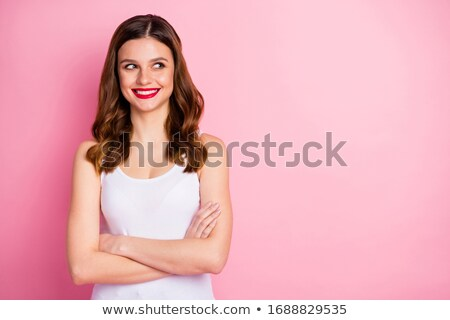 potrait of an attractive young fashion model female smiling agai stock photo © dacasdo
