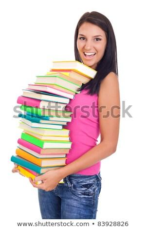 menina · texto · livros · isolado · retrato - foto stock © stockyimages