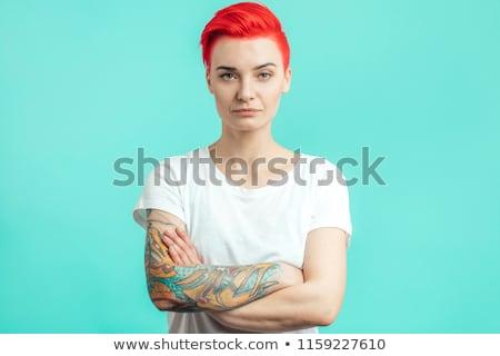 jeune · femme · mode · shirt · posant · demi-longueur - photo stock © stockyimages