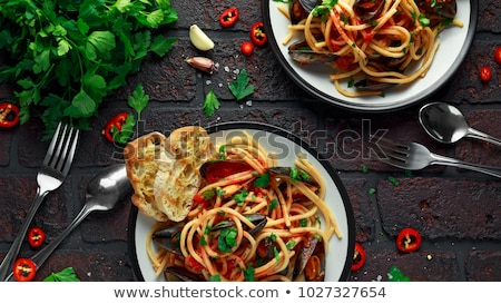 Stock photo: mussels with pasta dish