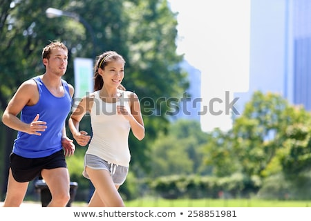 young couple runner jogger in park outdoor summer Stock photo © juniart