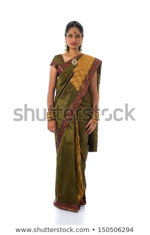 Full body traditional young Indian girl in sari Stock photo © szefei