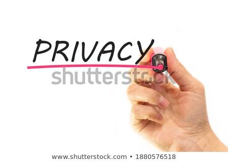 Privacidade branco marcador mão escrita transparente Foto stock © ivelin