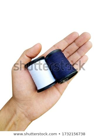 Stock fotó: Kék · fonál · tű · izolált · fehér · textúra