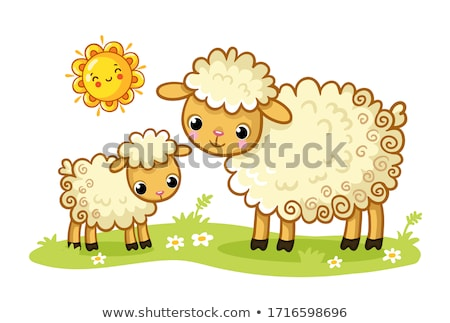 Stock photo: Cute lamb and mother sheep in meadow