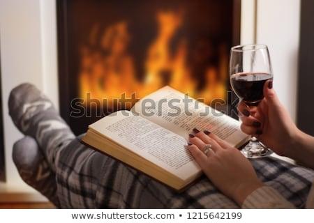 vidro · vinho · tinto · livros · flor · casamento · livro - foto stock © hiddenhallow