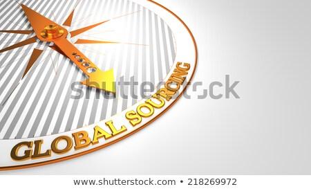 Global Sourcing  on White with Golden Compass. Stock photo © tashatuvango