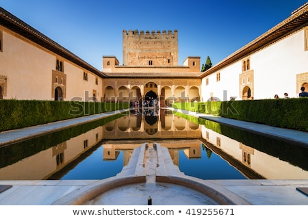 alhambra wall towers fountain garden granada andalusia spain stock photo © billperry