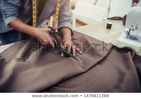 lány · olló · varr · textil · gondolkodik · nő - stock fotó © feelphotoart