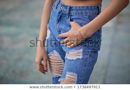 Mulher loira jeans jaqueta monocromático retrato Foto stock © zastavkin
