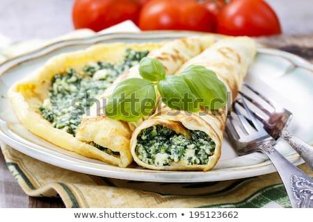 Crêpe kaas ei hout diner dieet Stockfoto © M-studio
