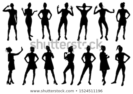 woman silhouette with hand gesture think Stock photo © Istanbul2009