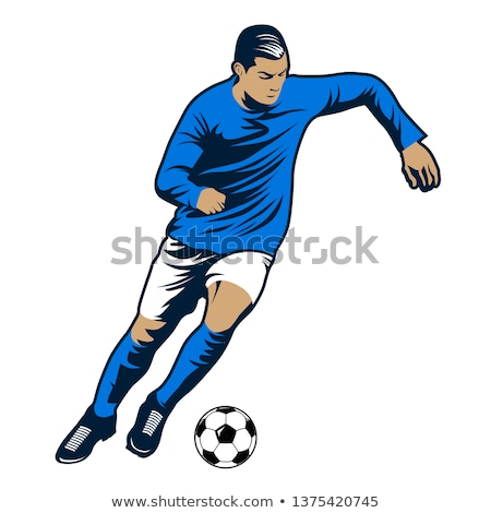 Football player in blue jersey jumping Stock photo © wavebreak_media