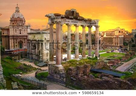 Naplemente római fórum ősi romok Róma Stock fotó © sailorr
