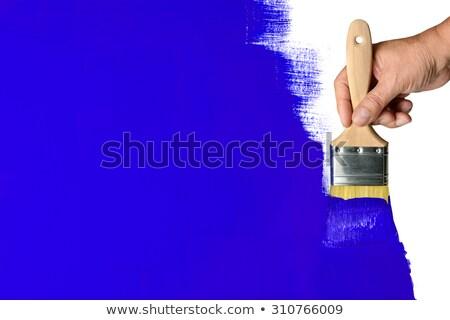 Stockfoto: Man · penseel · verf · muur · Blauw