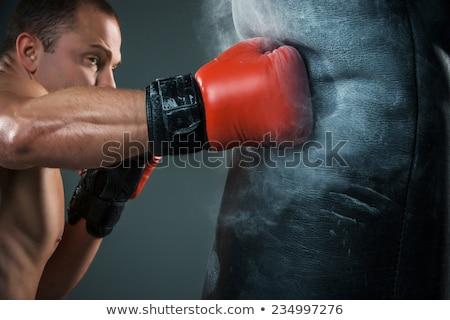gespierd · man · jonge · kaukasisch · bokser · Rood - stockfoto © master1305