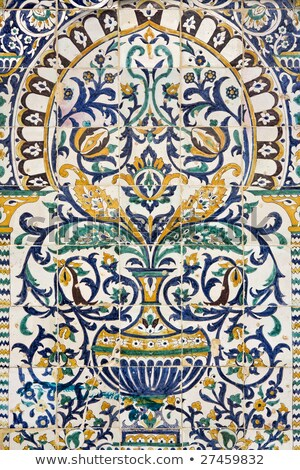 Fragment of ceramic tiled panel with floral and architectural mo Stock photo © dashapetrenko