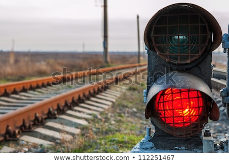 railroad and semaphore with red signal Stock photo © Mikko