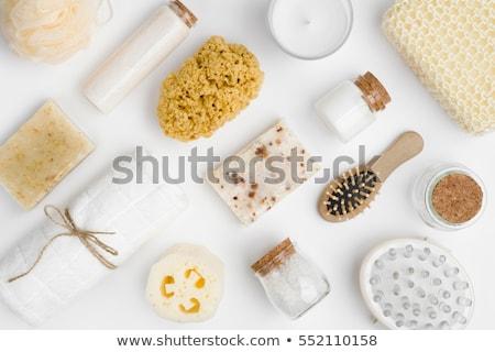 wisp and bottle of liquid soap isolated on white Stock photo © tetkoren
