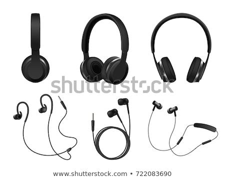 olcsó · fekete · számítógép · hangfalak · izolált · fehér - stock fotó © jordanrusev
