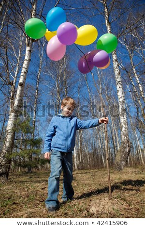 The boy with a sheaf of balloons in park in the spring Stock photo © Paha_L