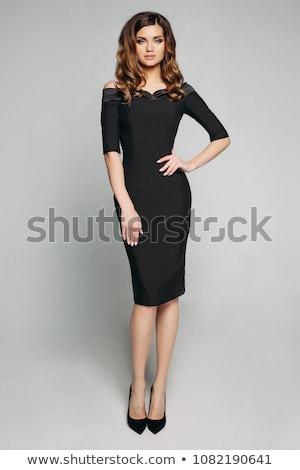 Stock fotó: Fiatal · hölgy · elegáns · fekete · ruha · izolált · fehér