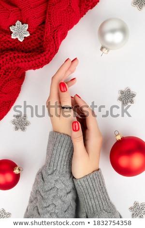 Vermelho unha polonês mão branco moda beleza Foto stock © OleksandrO